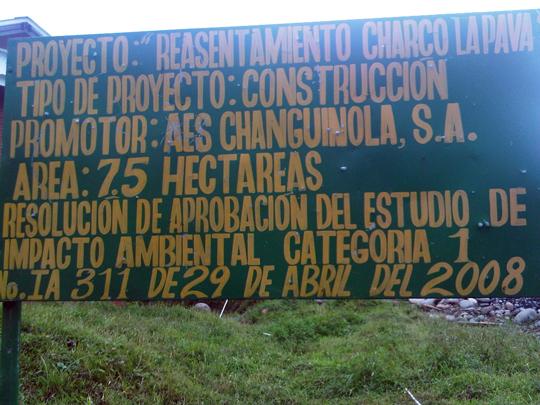 Cartel del proyecto de reasentamiento