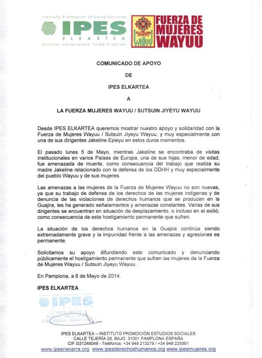 Comunicado de apoyo de IPES a Fuerza Mujeres Wayuu