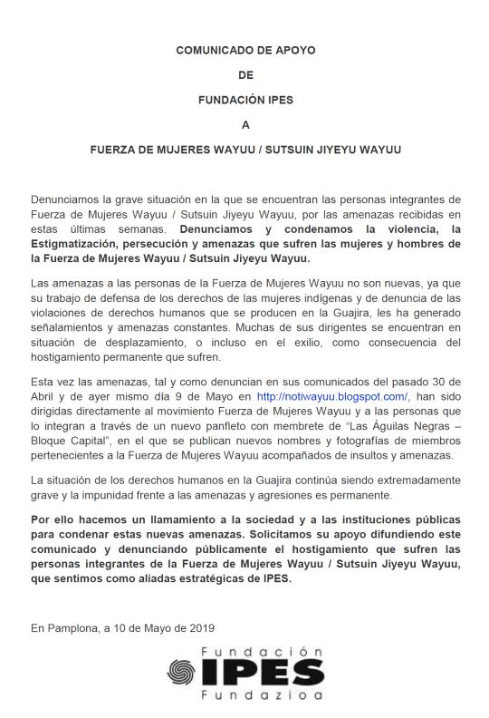 Comunicado de apoyo a Fuerza de Mujeres Wayuu